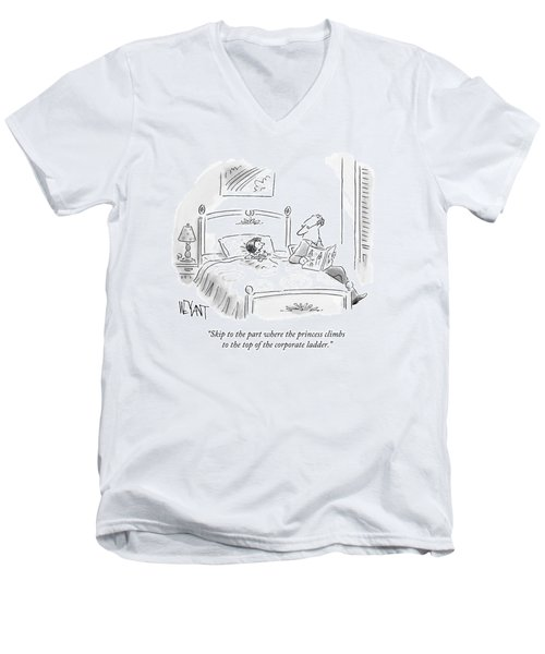 A Father Reads His Daughter A Bedtime Story Men's V-Neck T-Shirt