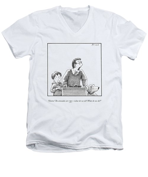 A Father, Son, And Dog All Worry At The Sight Men's V-Neck T-Shirt