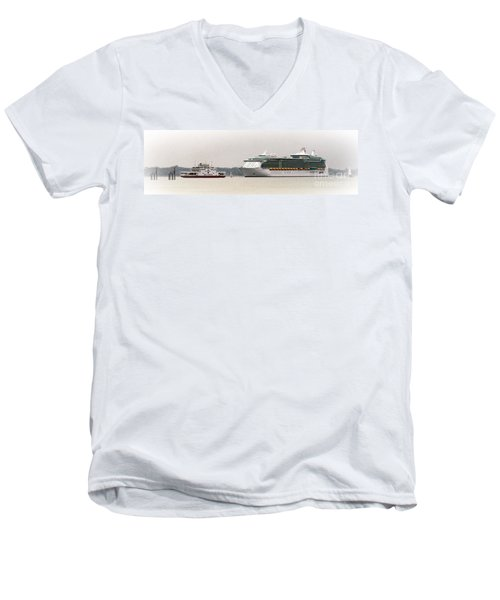A Ferry A Ship And Some Yachts Men's V-Neck T-Shirt by Linsey Williams