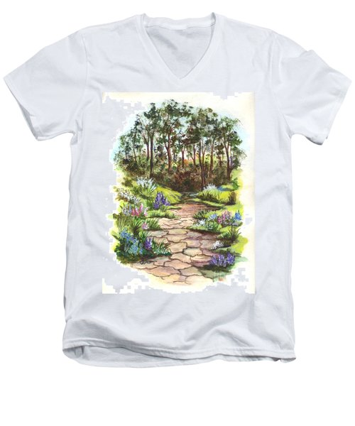 Men's V-Neck T-Shirt featuring the painting Down The Garden Pathway  by Carol Wisniewski