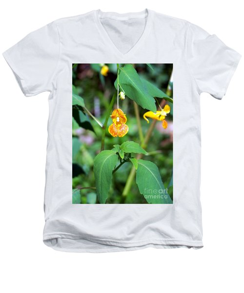 Men's V-Neck T-Shirt featuring the photograph A Fragile Flower by Chalet Roome-Rigdon