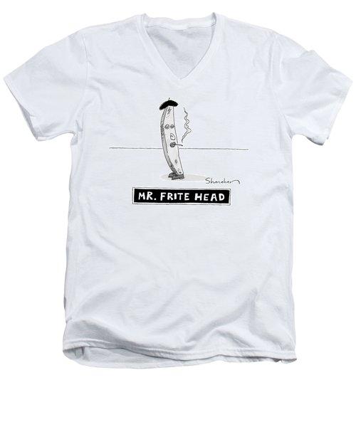 A French Fry Drawn Similarly To Mr. Potato Head Men's V-Neck T-Shirt