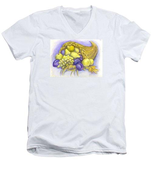 Men's V-Neck T-Shirt featuring the painting A Fruitful Horn Of Plenty by Carol Wisniewski