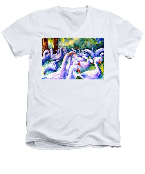A Gaggle Of Geese Men's V-Neck T-Shirt by Trudi Doyle