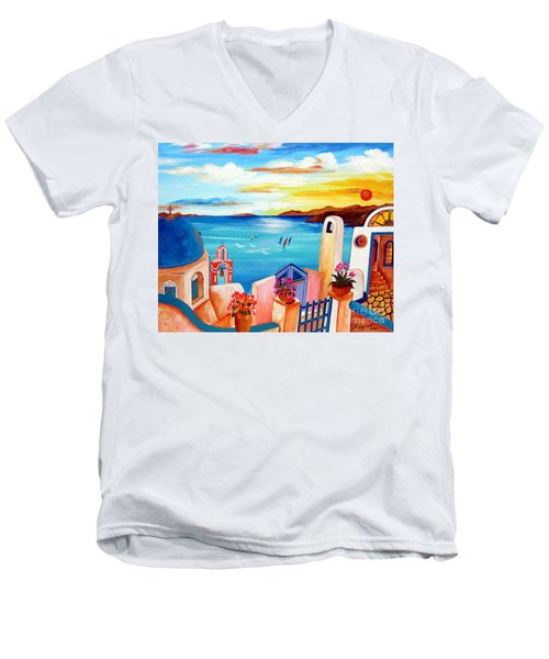 Men's V-Neck T-Shirt featuring the painting A Greek Seaview by Roberto Gagliardi
