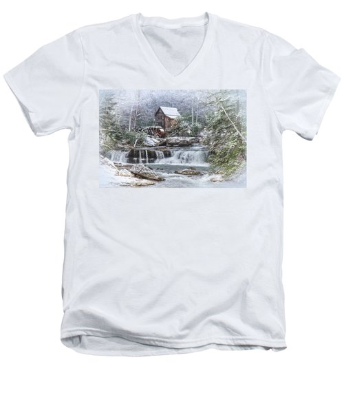 A Gristmill Christmas Men's V-Neck T-Shirt by Mary Almond