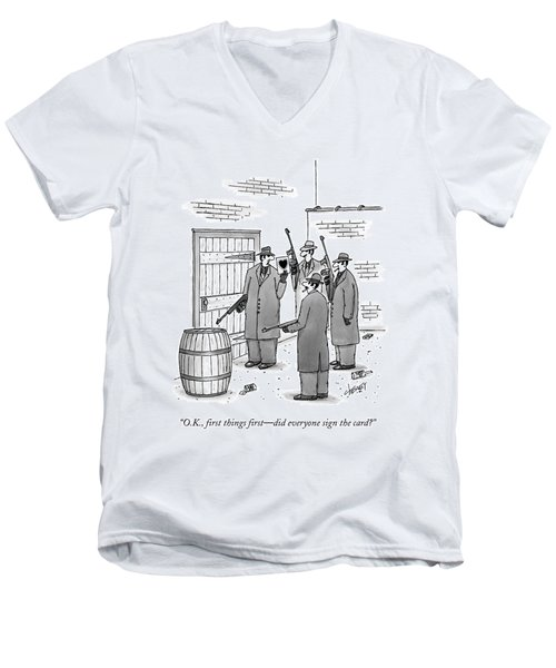 A Group Of Gangsters Stand With Machine Guns Men's V-Neck T-Shirt