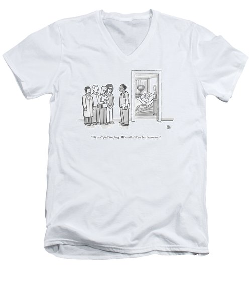 A Group Of People Talk To A Doctor Men's V-Neck T-Shirt