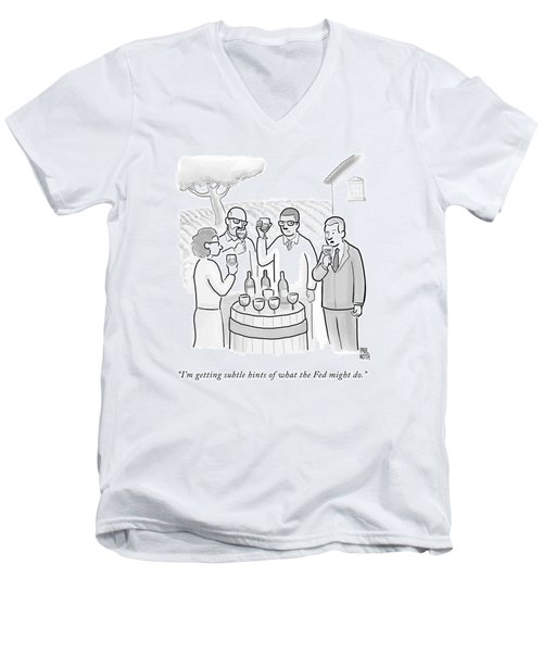 A Group Sample Wine At A Wine Tasting Vineyard Men's V-Neck T-Shirt