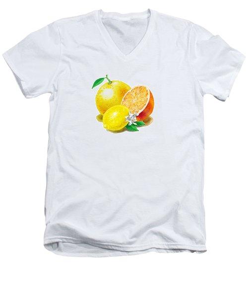 A Happy Citrus Bunch Grapefruit Lemon Orange Men's V-Neck T-Shirt by Irina Sztukowski