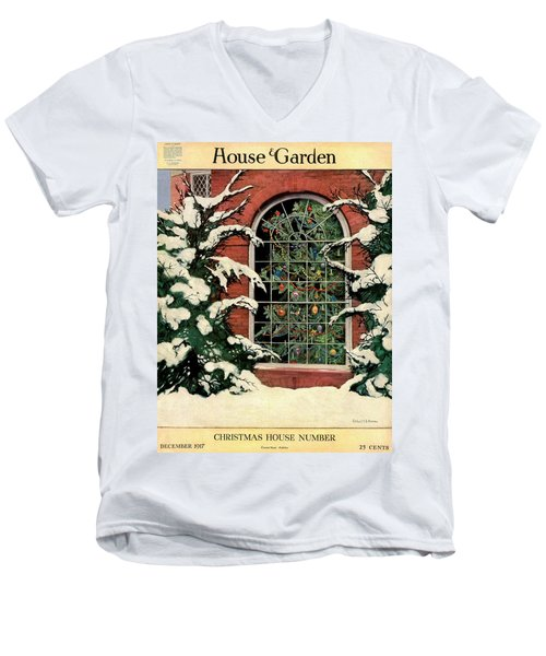 A House And Garden Cover Of A Christmas Tree Men's V-Neck T-Shirt