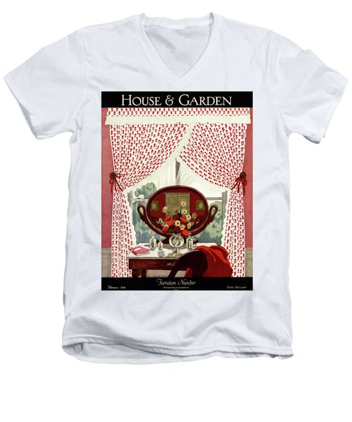 A House And Garden Cover Of A Mirror Men's V-Neck T-Shirt