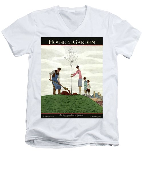 A House And Garden Cover Of People Planting Men's V-Neck T-Shirt