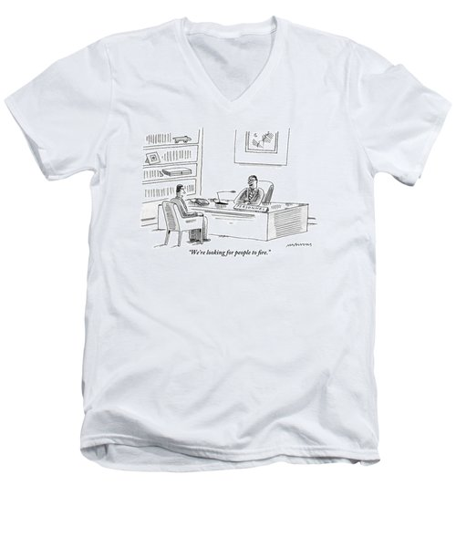 A Human Resources Office Worker Speaks To An Men's V-Neck T-Shirt