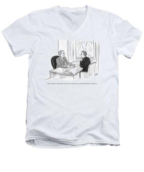 A Job Interviewer Scolds An Interviewee Men's V-Neck T-Shirt
