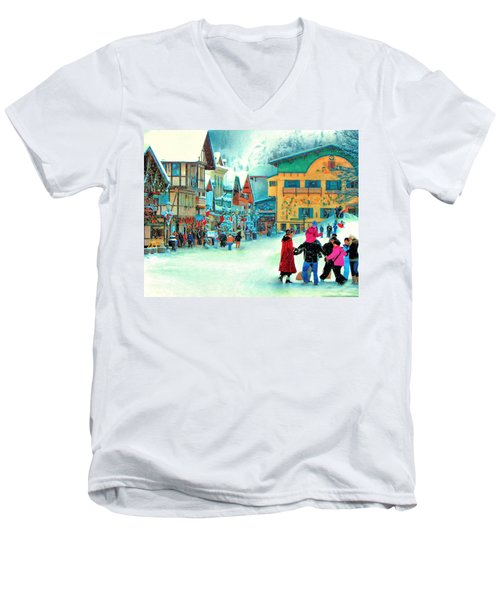 A Joyful Time Men's V-Neck T-Shirt by Michael Pickett