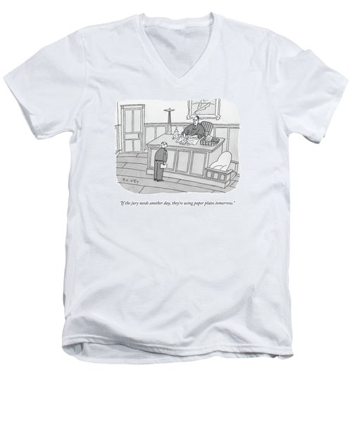 A Judge Washes Dishes In A Sink At His Desk Men's V-Neck T-Shirt