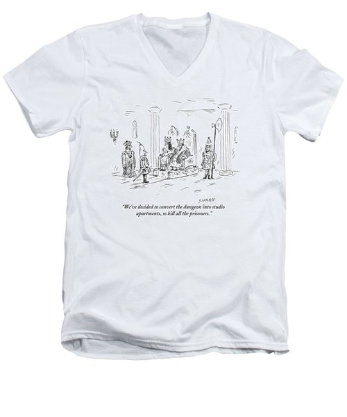 A King And Queen In The Royal Court Give Orders Men's V-Neck T-Shirt