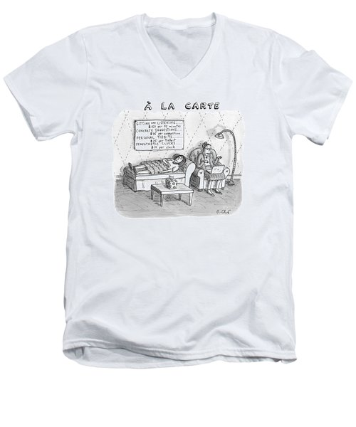 A La Carte -- Therapy Where A Placard Lists Men's V-Neck T-Shirt