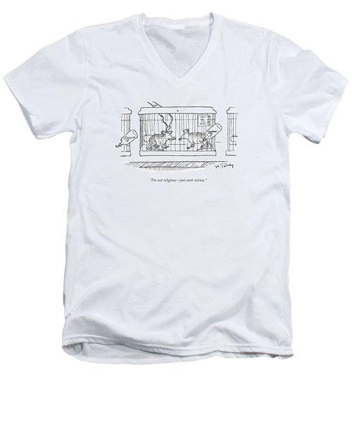A Lab Rat With Electrodes On His Head Talks Men's V-Neck T-Shirt
