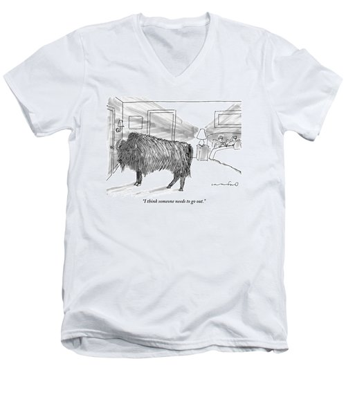 A Large Buffalo Stands Near The Door Men's V-Neck T-Shirt