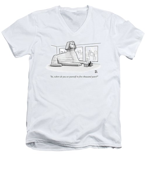 A Large Sphinx Sits In Front Of A Desk Men's V-Neck T-Shirt