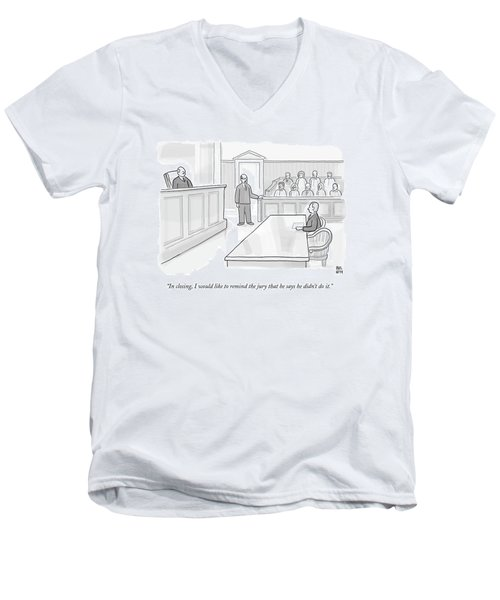 A Lawyer In Court Addresses The Jury Men's V-Neck T-Shirt