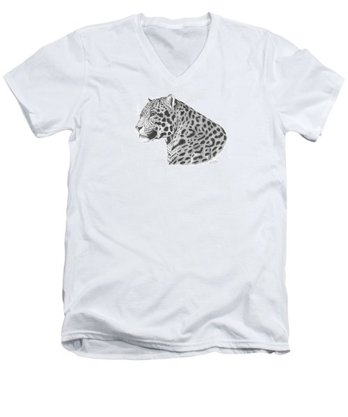 A Leopard's Watchful Eye Men's V-Neck T-Shirt by Patricia Hiltz