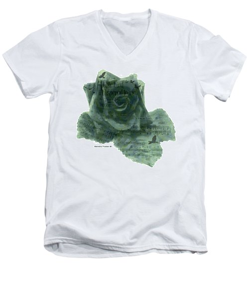 Men's V-Neck T-Shirt featuring the photograph A Little Bird Whispered To Me Digital Rose  by Sandra Foster