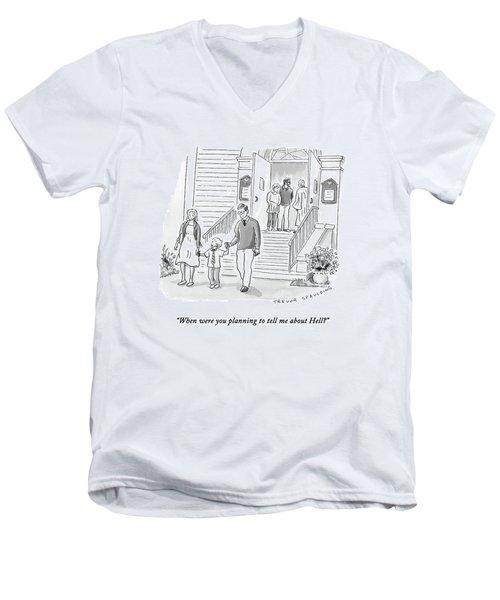 A Little Boy Speaks To His Parents Men's V-Neck T-Shirt
