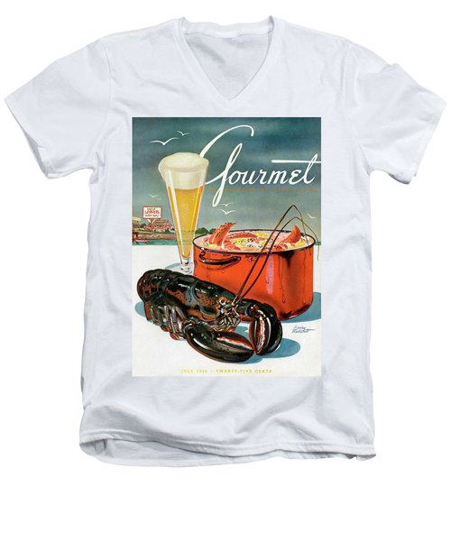 A Lobster And A Lobster Pot With Beer Men's V-Neck T-Shirt by Henry Stahlhut