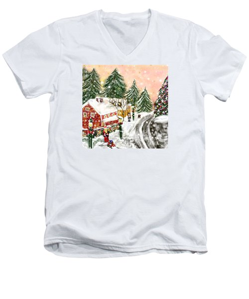 Men's V-Neck T-Shirt featuring the painting A Magical Frost by Lori  Lovetere
