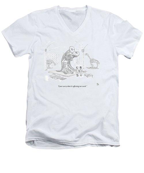 A Male And Female Paleontologist Men's V-Neck T-Shirt