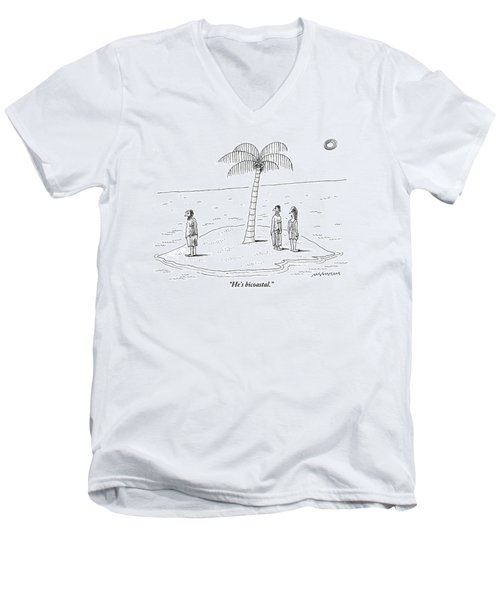 A Man And A Woman Stand On One Coast Of A Tiny Men's V-Neck T-Shirt