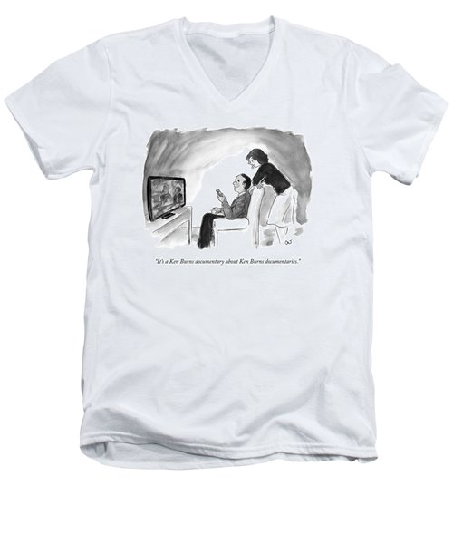 A Man And Wife Watch Television Men's V-Neck T-Shirt