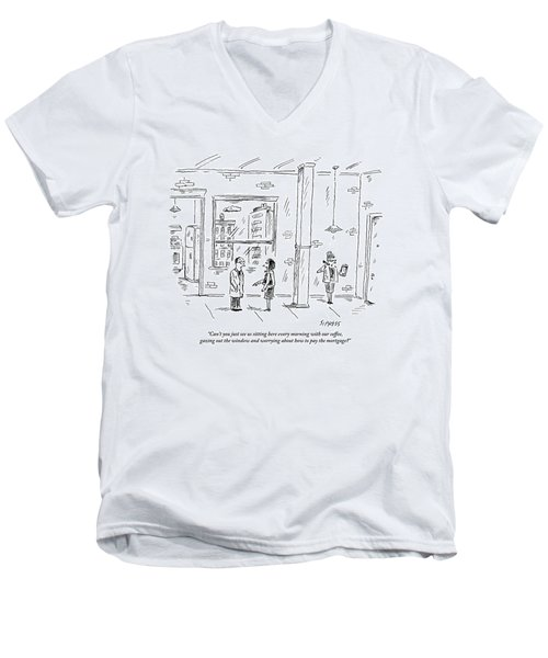 A Man And Woman Stand Inside An Empty Property Men's V-Neck T-Shirt