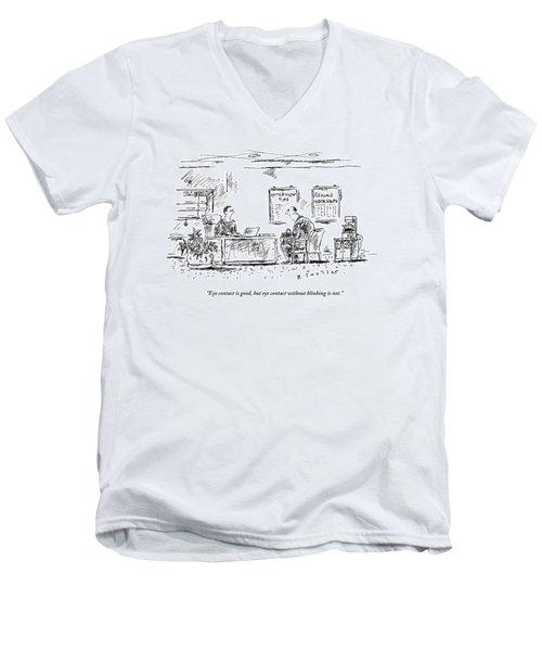 A Man Behind A Desk Gives The Man Sitting Men's V-Neck T-Shirt
