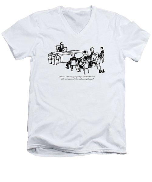 A Man Behind A Desk Reads A Piece Of Paper Men's V-Neck T-Shirt