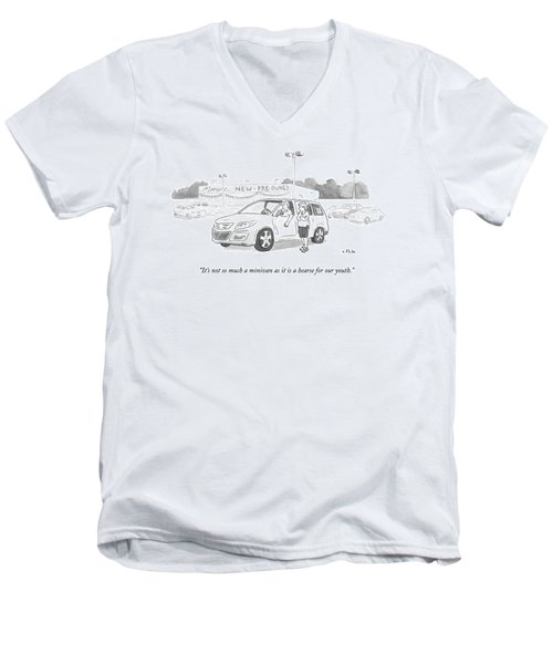 A Man In A Minivan Speaks To A Woman At A Car Men's V-Neck T-Shirt