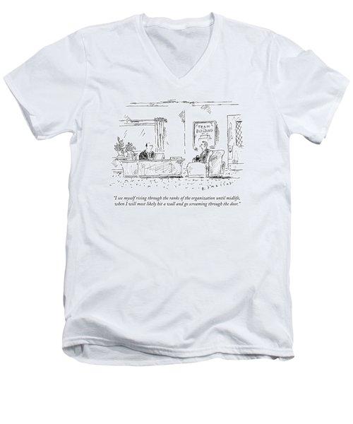 A Man Interviews For A Job Men's V-Neck T-Shirt