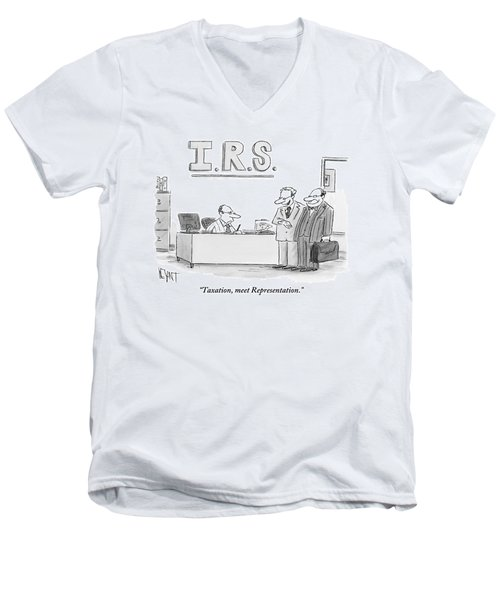 A Man Introduces A Lawyer To An Irs Agent Men's V-Neck T-Shirt