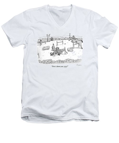 A Man Is Riding A Horse In A Competition. Men's V-Neck T-Shirt