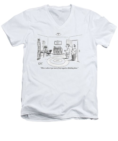 A Man Is Showing His Guest A Room In His Home Men's V-Neck T-Shirt