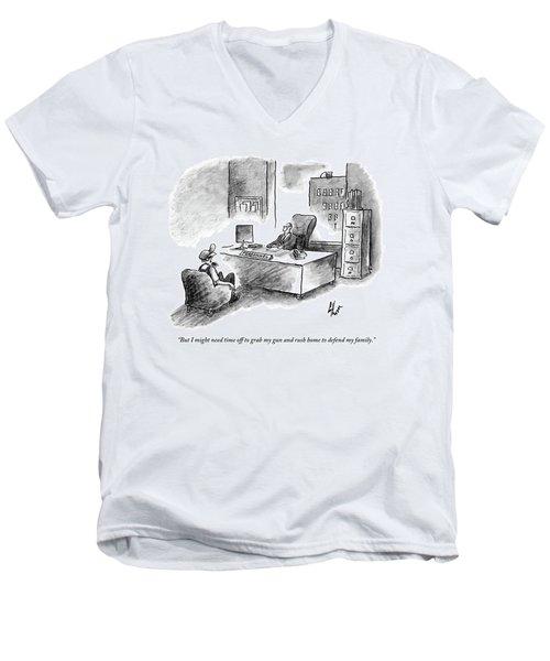 A Man Is Sitting Behind A Desk Talking To A Man Men's V-Neck T-Shirt