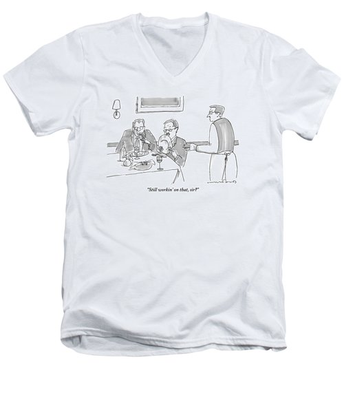 A Man Licks His Plate Clean At A Restaurant Men's V-Neck T-Shirt