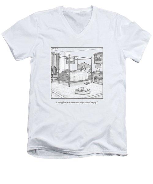 A Man Lies In Bed Men's V-Neck T-Shirt