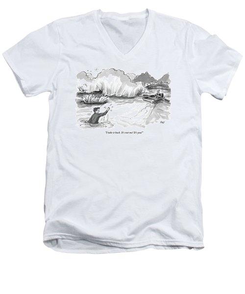 A Man Marooned In A Marsh Shouts Men's V-Neck T-Shirt
