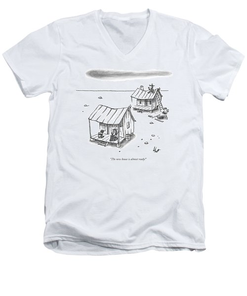 A Man On Top Of A Shack With A Ladder Men's V-Neck T-Shirt