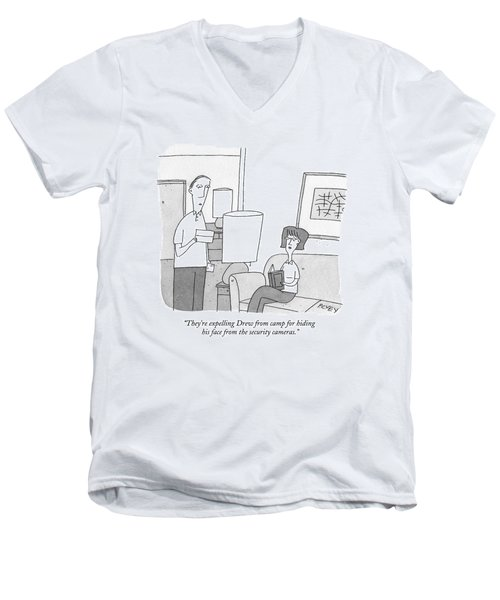 A Man Reads A Letter Aloud To His Wife Men's V-Neck T-Shirt