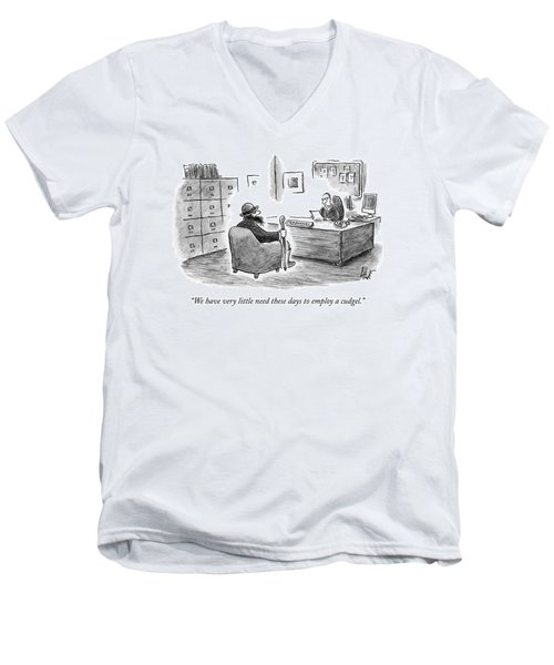 A Man Sits Across From A Personnel Desk Men's V-Neck T-Shirt